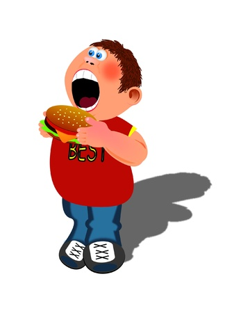 boy and hamburger  Illustration