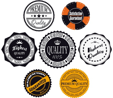 Satisfaction guaranteed and premium quality labels