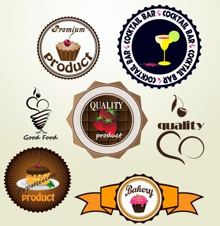 食品要素とビンテージ レトロなラベルのセット  イラスト・ベクター素材