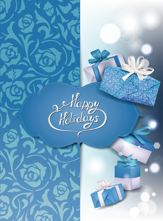 Blue holiday shiny background with gift boxes Vector