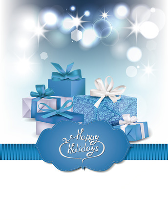 Blue holiday background with gift boxes