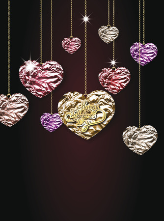 Foil hearts hanging on chain. Valentine\