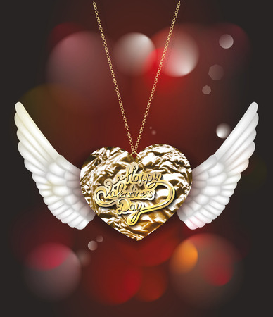 gold foil heart  with wings Illustration