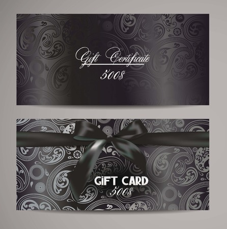 Elegant black gift certificates with floral design