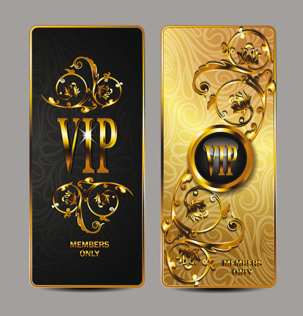 private club: Elegant gold VIP cards with floral design elements