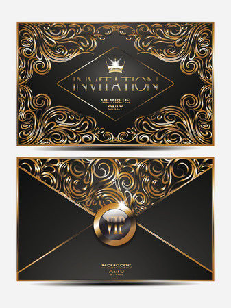Elegant gold vip invitation envelope