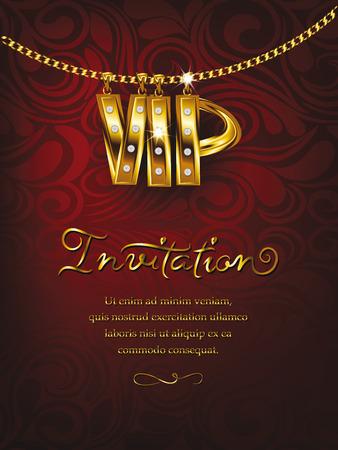 in chains: Elegante tarjeta de invitación VIP rojo con cadena de oro diseño floral Vectores
