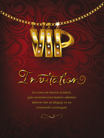 Elegant red VIP invitation card with gold chain floral design