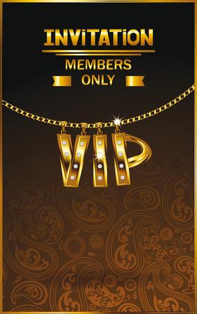 lavaliere: Elegant VIP invitation card with gold chain floral design Illustration