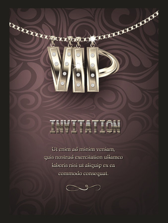 Elegant VIP invitation card with silver chain and floral design