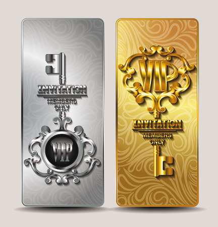 golden key: Elegant gold and silver  VIP cards with key