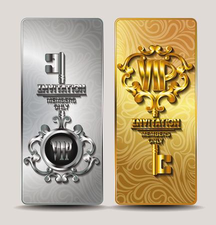 llaves: Oro y plata del VIP tarjetas elegantes con llave
