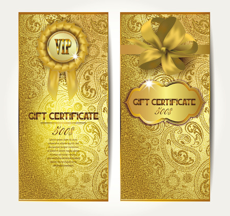 Elegant gold gift certificates with silk ribbons and floral design