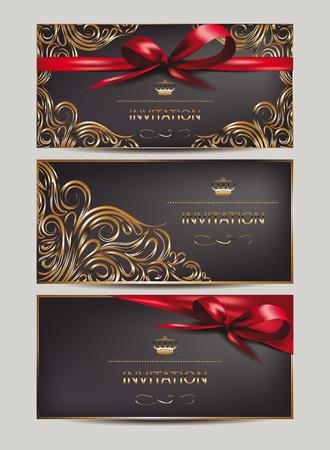 花のデザイン要素とリボンのエレガントな招待状  イラスト・ベクター素材
