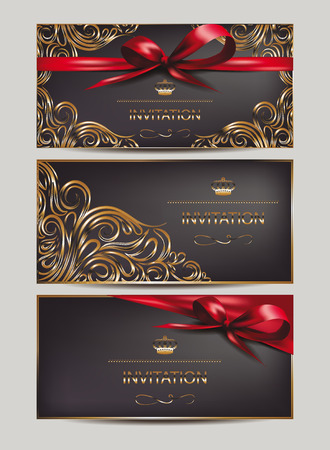 Elegant invitation cards with floral design elements and ribbons