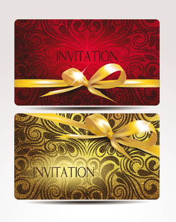 Elegant invitation cards with gold ribbons Illustration