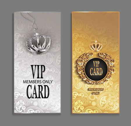 elegant invitation VIP cards with floral design Illustration