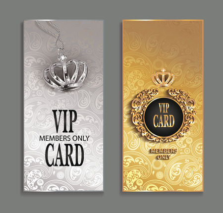 luxury template: elegant invitation VIP cards with floral design Illustration