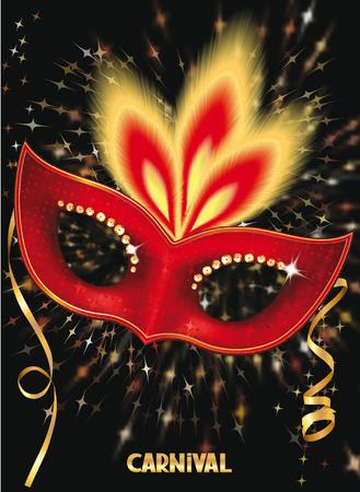 Carnival mask sur le fond de feu d'artifice Vecteurs