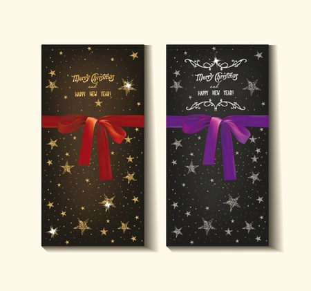 moños navideños: Tarjetas de Navidad y Año Nuevo con las estrellas y las cintas de seda
