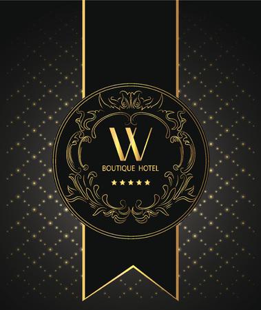 Boutique hotel vintage card with gold floral design elements