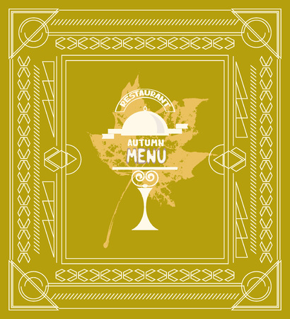 Autumn menu for restaurant with maple leaf on the background Illustration