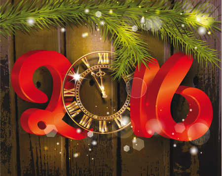 hangers: 2016 new year composition with watches Illustration