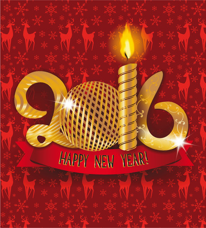 2016 new year gold composition with ball and candle
