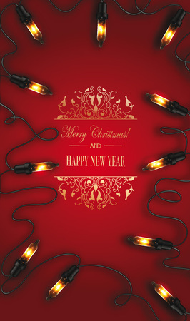 Christmas red background with garland Illustration
