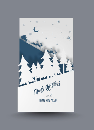 Creative paper christmas post card with 3 layers
