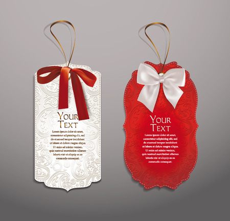 Elegant tag shaped gift cards with silk ribbons Illustration