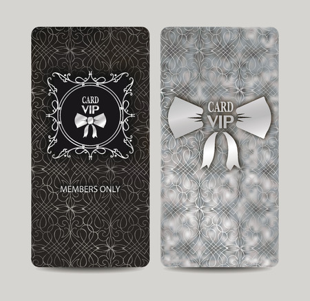 Elegant VIP silver cards with floral design