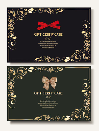 Gift certificates with silk bows and gold floral design
