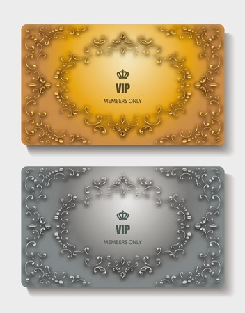 Gold and silver vintage Vip cards with floral design elements