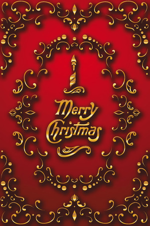 Gold christmas composition with floral design elements on the red background Illustration