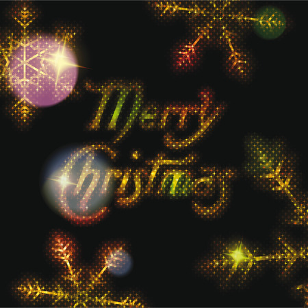 Gold Merry christmas lettering with gold snowflakes