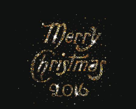 Gold shiny Merry Christmas lettering 2016 Illustration