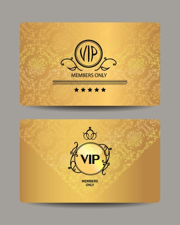 vip design: Gold VIP cards with floral design elements