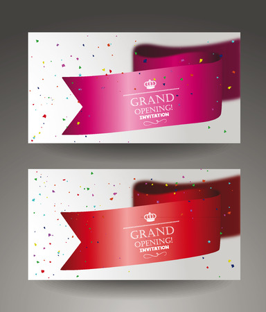 Grand opening banners with confetti and sikl ribbon Illustration