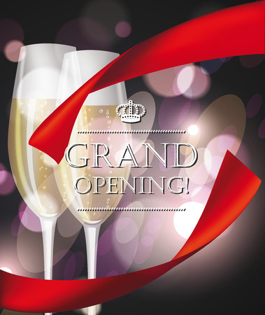 Grand opening composition with glasses with champagne and red ribbon