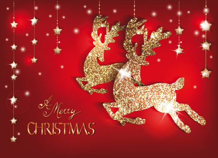 christmas backdrop: Greeting card with gold shiny deers and christmas decorations Illustration