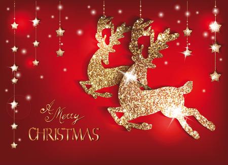 oro: Tarjeta de felicitaci�n con ciervos brillantes de oro y decoraciones de Navidad