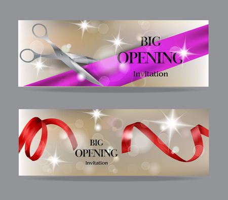 Grand opening banners with transparent air balloons and shiny konfetti Illustration