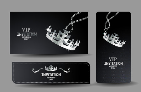 black VIP cards with shiny textured silver crown