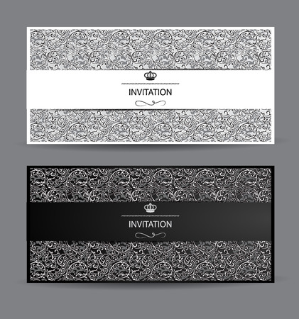 花のデザイン要素を持つ黒と白のカード  イラスト・ベクター素材