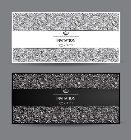 cartes en noir et blanc avec des éléments de design floral