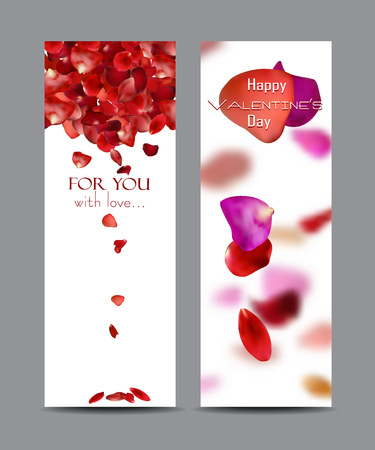 Banners with falling rose petals Illustration
