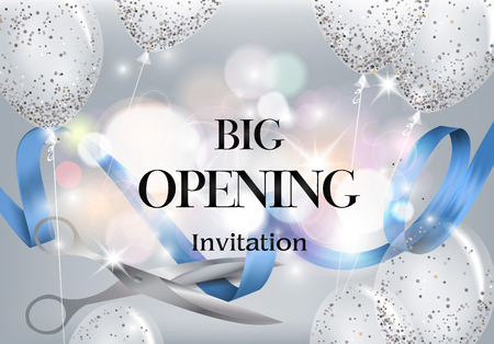 Big opening background with red ribbon and scissors and air balloons