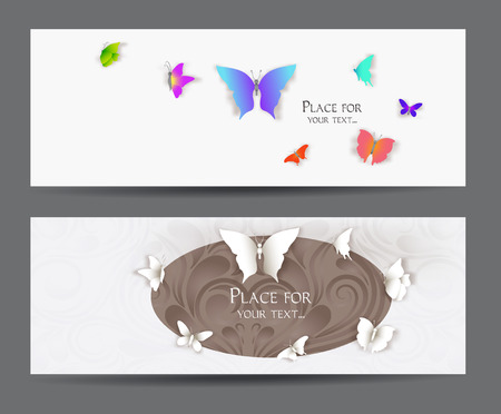 Banners with paper butterflies
