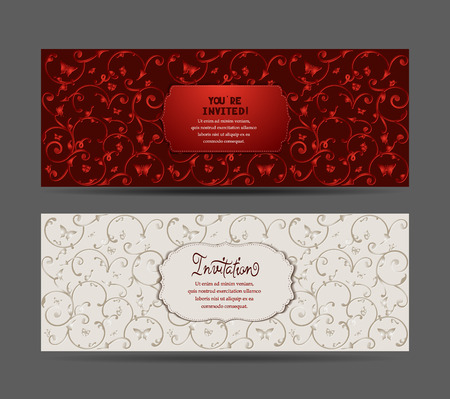 famosos: Las tarjetas con mariposas y flores patrón Vectores